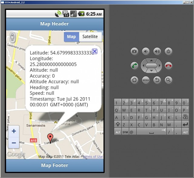 Android geolocation application demo using PhoneGap, jQuery